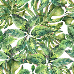 Summer exotic watercolor seamless pattern
