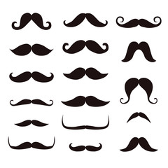 Set mustache, isolated on white background
