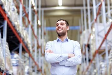happy man at warehouse