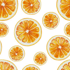 Watercolor seamless pattern of orange fruit slices. Vector illustration of citus orange fruits. Eco food illustration
