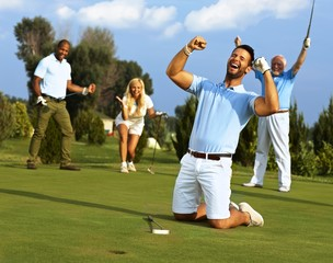 Happy golfer in flush of victory