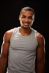 Sporty black man smiling