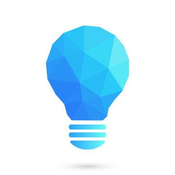 Blue low poly light bulb illustration.