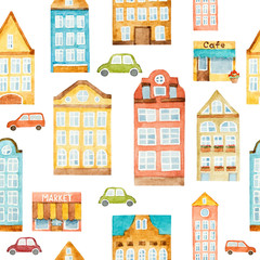 Watercolor seamless pattern with houses and cars.