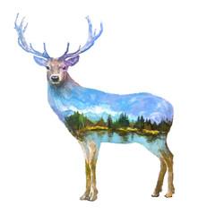 Deer double exposure illustration
