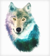 wolf double exposure illustration