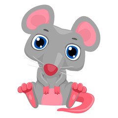 Vector Illustration of Cute Cartoon Mouse