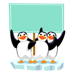 Vector Illustration of three penguins holding blank Signage