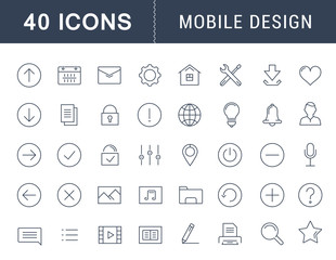 Set Vector Flat Line Icons Mobile Design