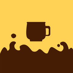 Hot chocolate cup and splash vector illustration with place for text