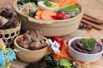 Bibimbap korean food is delicious.