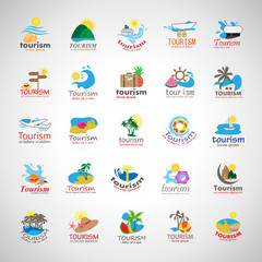 Summer Icons Set-Isolated On Gray Background.Vector Illustration,Graphic Design.Collection Of Vacation Icons. Travel Concept