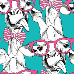 Seamless pattern with giraffes in the glasses and with bow. Vector illustration.