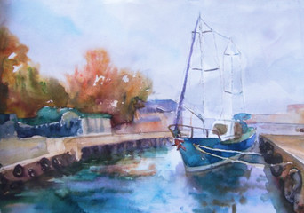 watercolor landscape, marina, yacht, sea