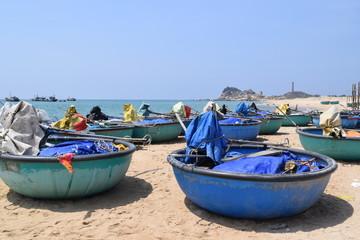 lots of basket boats in Vietnam fishing village