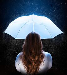 woman with umbrella under stardust