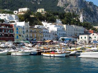 Boats Tied Up Alongside At  Marina Grande Port - Italy, Capri / Port of Capri Island in Summer Day, Italy, Tyrrhenian Sea, Gulf of Naples
