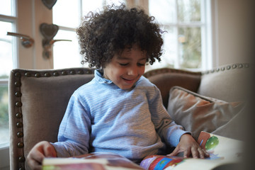 Young Boy Reading Book On Sofa At Home