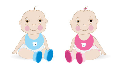 Cute Baby girl Baby boy twin baby vector