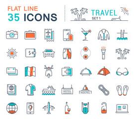 Set Vector Flat Line Icons Travel
