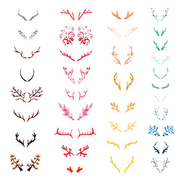 Set of varicolored watercolor deer horns