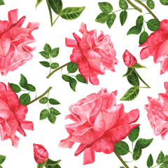 Seamless background pattern with watercolor roses with green leaves