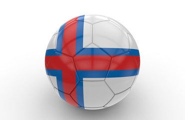 Soccer ball with Faroe Islands flag; 3d rendering