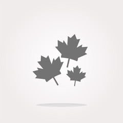 vector Maple leaf icon on web button. Web Icon Art. Graphic Icon Drawing