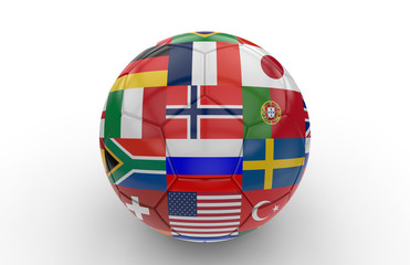 Soccer ball with many flags; 3d rendering