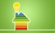 Haus mit Blatt und Glühbirne, ENEV, Energieeffizienz, Ökostrom, Erneuerbare Energienn Nachhaltigkeit, Energieeffizienzklasse, Energiesparhaus