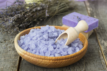 Sea salt with lavender and natural soap -  ingredients for spa t