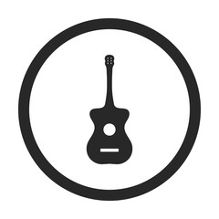 Acoustic guitar sign simple icon on background