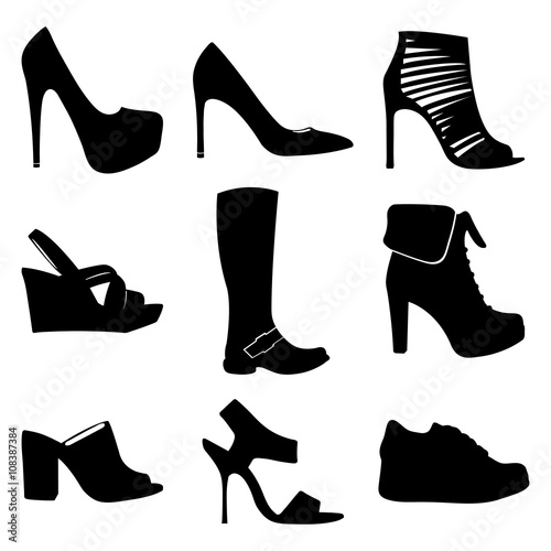 Shoes vector collection. Shoes icon set. Isolated women shoes. Shoes silhouettes. Black and white women shoes group.Shoes vector symbols.Girl fashion shoes.