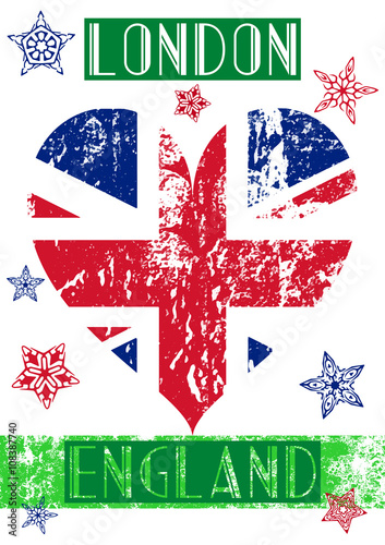 Colorful And Grunge London T Shirt Apparel Graphic Design With England