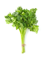 bunch of parsley on white background