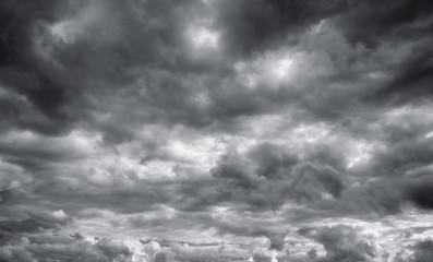 Storm clouds, cloudy sky over horizon.