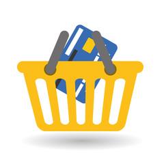 Buy online over white background, basket design