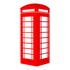 Isolated red British telephone box on white background - Eps10 Vector graphics and illustration
