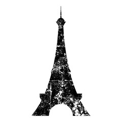 Isolated and grunge black Paris Eiffel tower front silhouette clip art on white background - Eps10 Vector graphics and illustration