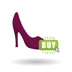 Buy online over white background, fashion shopping