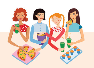 Dinner Party Movie Night With Four Cute Girls Friends Vector Illustration. Ginger, Brunette, Blond And Brown Haired Girlfriends Different Hairstyles Chatting, Snacking together.