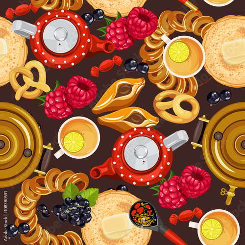 Seamless pattern with russian cuisine russian food - Cuisine traditionnelle russe ...