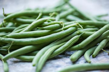 Fresh, organic green beans