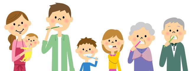 歯を磨く三世代家族
