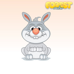 Cute Cartoon Little Rabbit. Funny Vector Animal