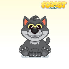 Cute Cartoon Black Wolf. Funny Vector Animal