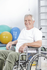 Exercising with dumbbells in rehabilitation clinic