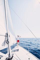 Girl on sailboat