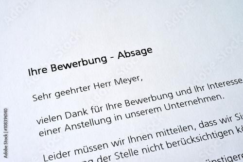Bewerbung Absage Bewerbungsschreiben Stellenausschreibung