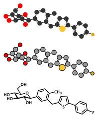 Canagliflozin diabetes drug molecule. SGLT2 inhibitor.